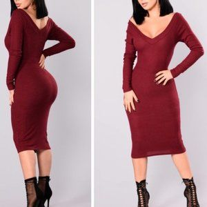 NWT Fashion Nova v nck 'Wine Stockholm Midi Dress'